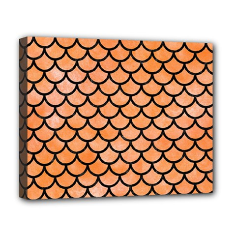 Scales1 Black Marble & Orange Watercolor Deluxe Canvas 20  X 16   by trendistuff