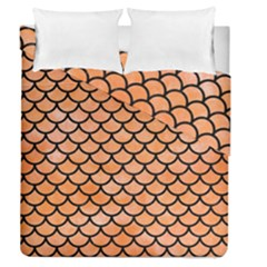 Scales1 Black Marble & Orange Watercolor Duvet Cover Double Side (queen Size) by trendistuff