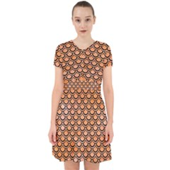 Scales2 Black Marble & Orange Watercolor Adorable In Chiffon Dress