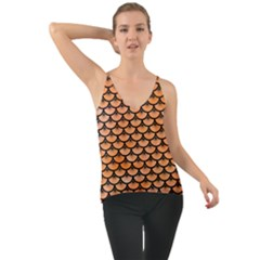 Scales3 Black Marble & Orange Watercolor Cami
