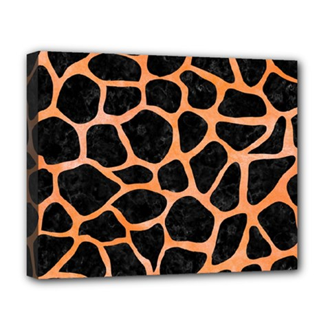 Skin1 Black Marble & Orange Watercolor Deluxe Canvas 20  X 16   by trendistuff