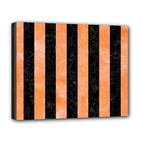 Stripes1 Black Marble & Orange Watercolor Deluxe Canvas 20  X 16   by trendistuff