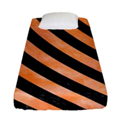 Stripes3 Black Marble & Orange Watercolor Fitted Sheet (single Size) by trendistuff