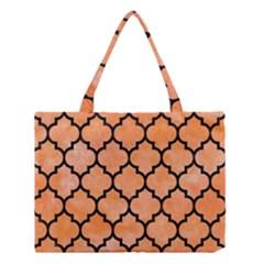 Tile1 Black Marble & Orange Watercolor Medium Tote Bag by trendistuff