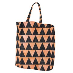Triangle2 Black Marble & Orange Watercolor Giant Grocery Zipper Tote