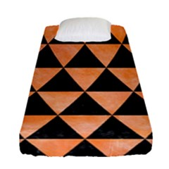 Triangle3 Black Marble & Orange Watercolor Fitted Sheet (single Size) by trendistuff