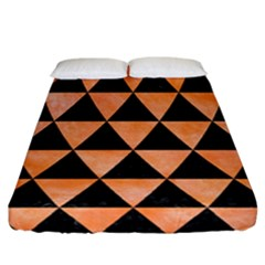 Triangle3 Black Marble & Orange Watercolor Fitted Sheet (california King Size) by trendistuff
