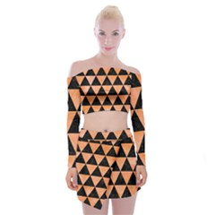 Triangle3 Black Marble & Orange Watercolor Off Shoulder Top With Mini Skirt Set