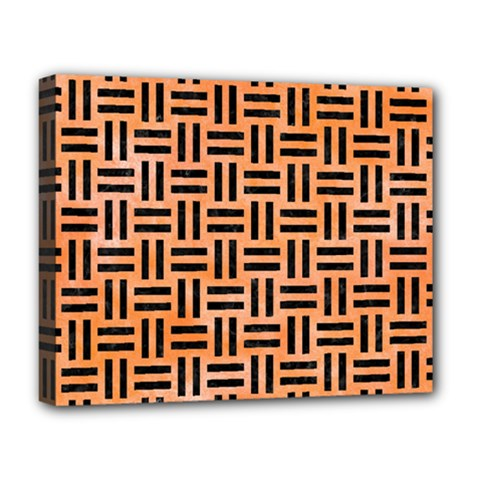 Woven1 Black Marble & Orange Watercolor Deluxe Canvas 20  X 16   by trendistuff