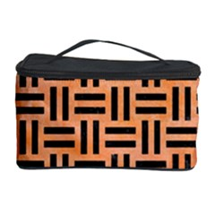 Woven1 Black Marble & Orange Watercolor Cosmetic Storage Case by trendistuff