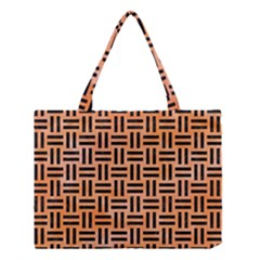 Woven1 Black Marble & Orange Watercolor Medium Tote Bag by trendistuff
