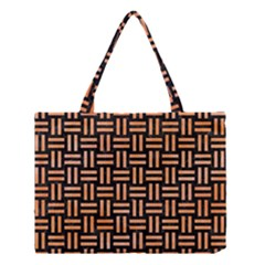 Woven1 Black Marble & Orange Watercolor (r) Medium Tote Bag by trendistuff