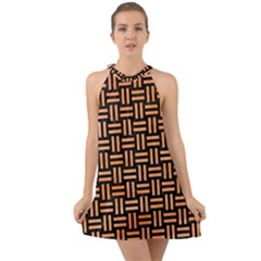 Woven1 Black Marble & Orange Watercolor (r) Halter Tie Back Chiffon Dress