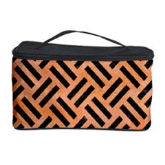 Woven2 Black Marble & Orange Watercolor Cosmetic Storage Case by trendistuff