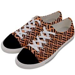 Woven2 Black Marble & Orange Watercolor Women s Low Top Canvas Sneakers by trendistuff