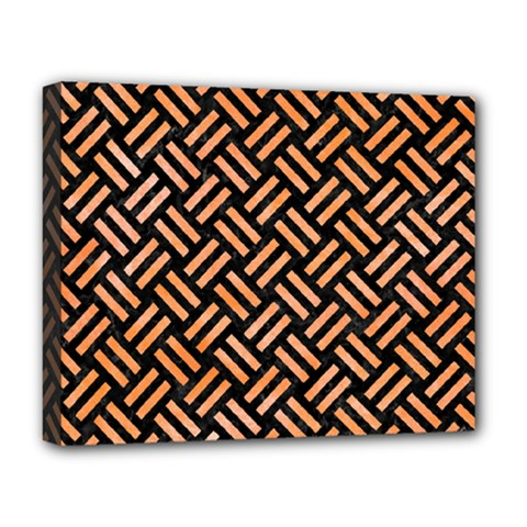 Woven2 Black Marble & Orange Watercolor (r) Deluxe Canvas 20  X 16   by trendistuff