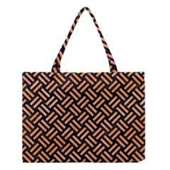 Woven2 Black Marble & Orange Watercolor (r) Medium Tote Bag by trendistuff