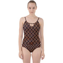 Woven2 Black Marble & Orange Watercolor (r) Cut Out Top Tankini Set