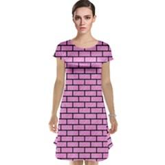 Brick1 Black Marble & Pink Colored Pencil Cap Sleeve Nightdress