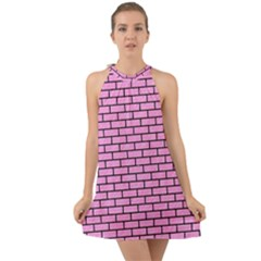 Brick1 Black Marble & Pink Colored Pencil Halter Tie Back Chiffon Dress