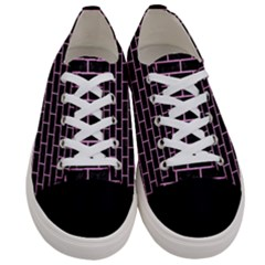 Brick1 Black Marble & Pink Colored Pencil (r) Women s Low Top Canvas Sneakers