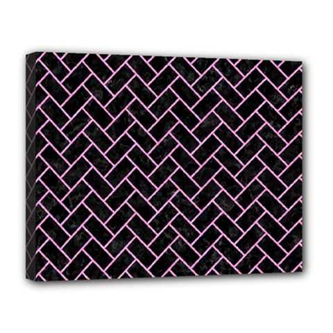 Brick2 Black Marble & Pink Colored Pencil (r) Canvas 14  X 11  by trendistuff