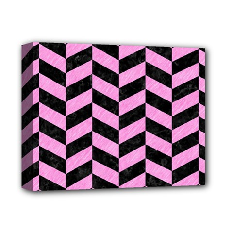 Chevron1 Black Marble & Pink Colored Pencil Deluxe Canvas 14  X 11  by trendistuff