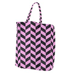 Chevron1 Black Marble & Pink Colored Pencil Giant Grocery Zipper Tote by trendistuff