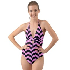 Chevron2 Black Marble & Pink Colored Pencil Halter Cut Out One Piece Swimsuit