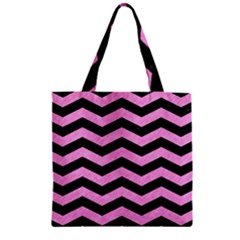 Chevron3 Black Marble & Pink Colored Pencil Zipper Grocery Tote Bag by trendistuff