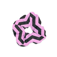 Chevron3 Black Marble & Pink Colored Pencil Velvet Scrunchie by trendistuff