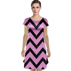 Chevron9 Black Marble & Pink Colored Pencil Cap Sleeve Nightdress