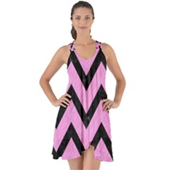 Chevron9 Black Marble & Pink Colored Pencil Show Some Back Chiffon Dress by trendistuff