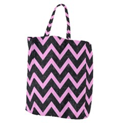 Chevron9 Black Marble & Pink Colored Pencil (r) Giant Grocery Zipper Tote