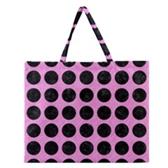 Circles1 Black Marble & Pink Colored Pencil Zipper Large Tote Bag by trendistuff