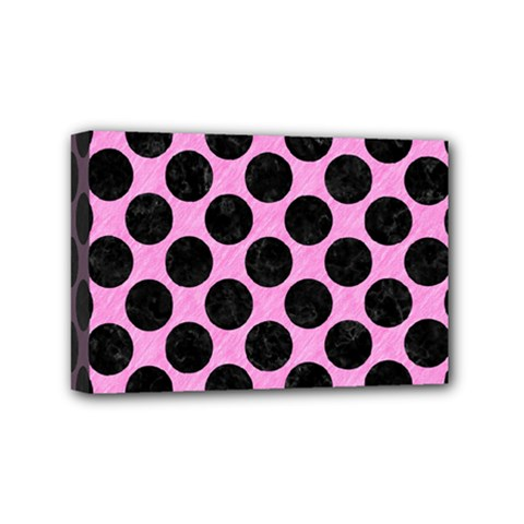 Circles2 Black Marble & Pink Colored Pencil Mini Canvas 6  X 4  by trendistuff