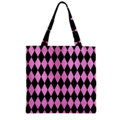 Diamond1 Black Marble & Pink Colored Pencil Zipper Grocery Tote Bag by trendistuff