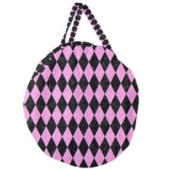 Diamond1 Black Marble & Pink Colored Pencil Giant Round Zipper Tote by trendistuff