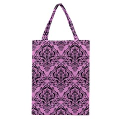 Damask1 Black Marble & Pink Colored Pencil Classic Tote Bag by trendistuff
