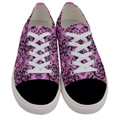 Damask1 Black Marble & Pink Colored Pencil Women s Low Top Canvas Sneakers