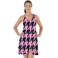 Houndstooth1 Black Marble & Pink Colored Pencil Show Some Back Chiffon Dress by trendistuff