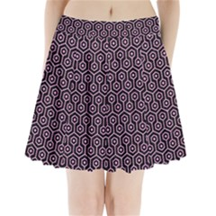 Hexagon1 Black Marble & Pink Colored Pencil (r) Pleated Mini Skirt by trendistuff