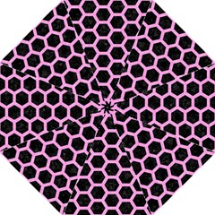Hexagon2 Black Marble & Pink Colored Pencil (r) Folding Umbrellas by trendistuff