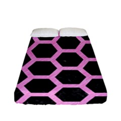 Hexagon2 Black Marble & Pink Colored Pencil (r) Fitted Sheet (full/ Double Size) by trendistuff