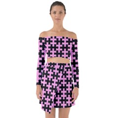 Puzzle1 Black Marble & Pink Colored Pencil Off Shoulder Top With Skirt Set