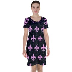 Royal1 Black Marble & Pink Colored Pencil Short Sleeve Nightdress