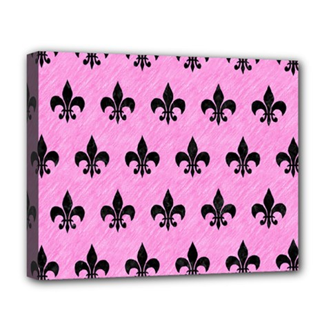 Royal1 Black Marble & Pink Colored Pencil (r) Deluxe Canvas 20  X 16   by trendistuff