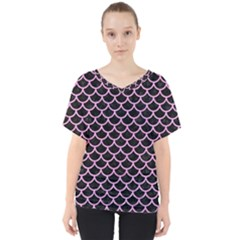 Scales1 Black Marble & Pink Colored Pencil (r) V Neck Dolman Drape Top