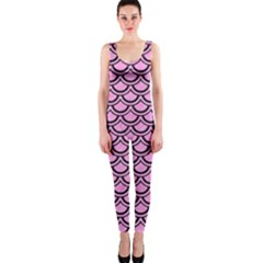 Scales2 Black Marble & Pink Colored Pencil Onepiece Catsuit