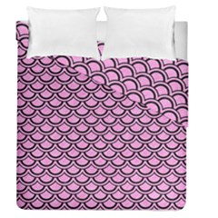Scales2 Black Marble & Pink Colored Pencil Duvet Cover Double Side (queen Size) by trendistuff